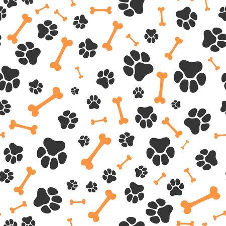 Animal paw steps vector seamless pattern. Pet footprint random pattern
