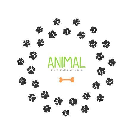 Animal footprint circle frame. Isolated vector border template