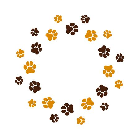 Animal footprint in circle. Isolated vector border template  イラスト・ベクター素材