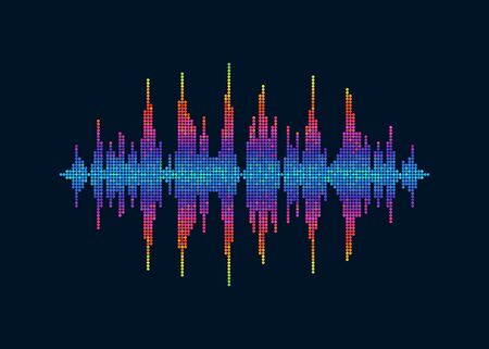 Vector colorful pixelated sound waves. Abstract speaking voice wave isolated design element on dark background  イラスト・ベクター素材