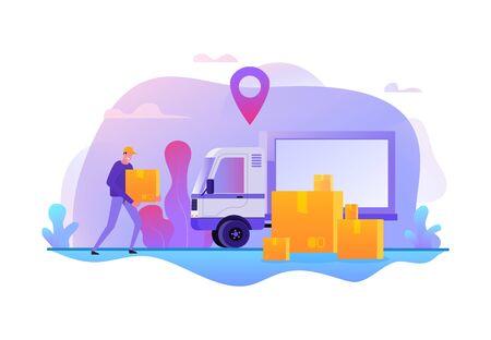 Online delivery service. Fast transportation of goods vector illustration. Cargo movement job vacancies  イラスト・ベクター素材