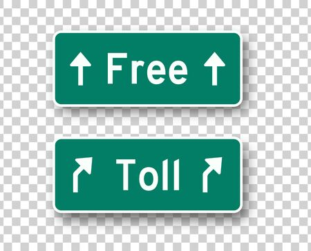 Toll and free road signs isolated vector design elements. Highway green boards collection on transparent background  イラスト・ベクター素材
