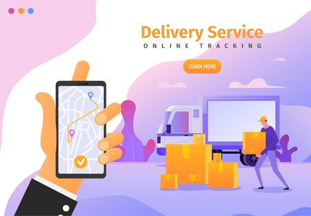 Online delivery services app with gps tracking web banner, poster, flyer template. Vector illustration of cargo shipping for ui, ux or landing page