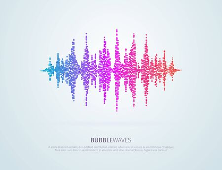 Colorful vector pixelated sound waves. Abstract bubbles speaking voice wave isolated design element on white background