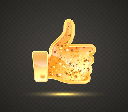 Golden like sign. Hand with finger up social media vector symbol. Social community isolated icon on dark background