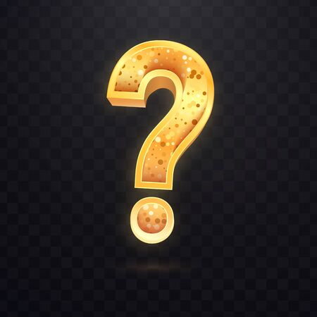 Golden question sign on dark transparent background. Vector icon of query mark.