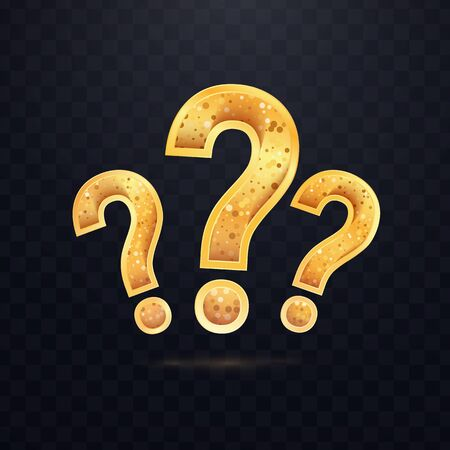 Tree Golden questions sign on dark transparent background. Set of vector icon of query mark.