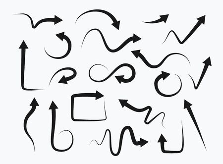Set of hand drawn arrows on white background. Direction cursors sketch symbols vector icon collection