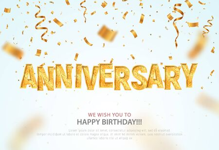 Golden anniversary word and falling down confetti vector banner template. Birthday or jubilee vector banner on light background.