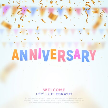 Anniversary colorful paper word and falling down confetti vector banner. Birthday vector banner template on light background