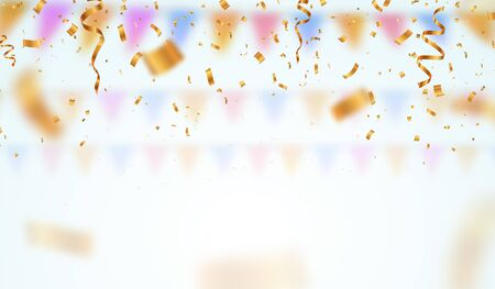 Golden flying blur confetti on light background . Falling down ticker tapes with blurred motion effect vector illustration.