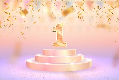 First place vector illustration. First anniversary celebration. Number one on pedestal web banner. Gold podium for winner  イラスト・ベクター素材