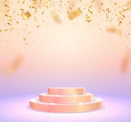 Empty victory stage pedestal vector illustration. Blank gold podium for winner or popular on light background  イラスト・ベクター素材