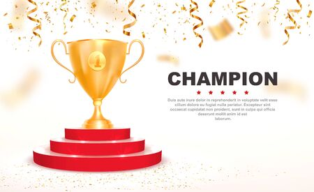 3d golden trophy cup on red podium vector illustration. First place win template with falling down confetti on white background
