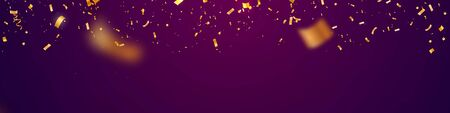 Golden flying confetti with blur motion effect on purple super wide background . Template for Holiday vector illustration web banner.