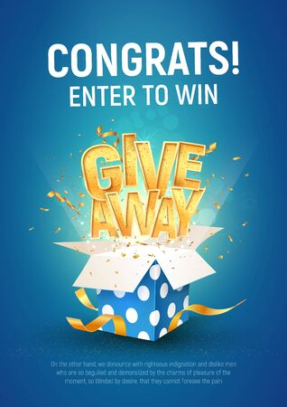 Giveaway word above open textured blue box with confetti explosion inside on blue background illustration poster template. Gift away text and giftbox quiz or lottery template.