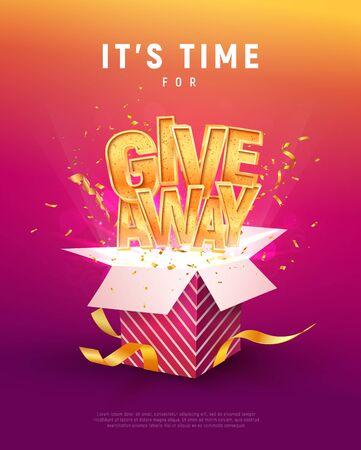 Giveaway woord boven open doos met confetti explosie binnen op kleurrijke achtergrond illustratie poster sjabloon. Geef tekst en giftbox geïsoleerd vectorvoorwerp weg.