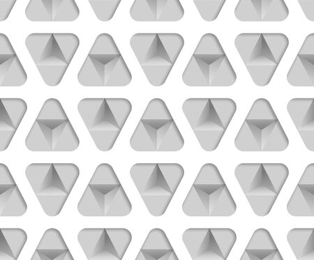 3d monochrome paper triangles seamless pattern. Abstract vector geometric texture of triangular. Endless illustration with geometric shapes. Vettoriali
