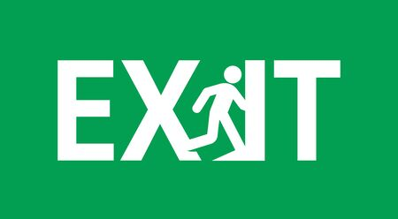 Emergency exit door sign vector illustration.Service icon of evacuation. Direction to doorway on green background Ilustracja