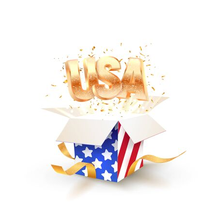 Open box with the texture of the national flag of the United States and golden USA word and confetti flying out from it vector illustration. 3d isolated holiday design elements