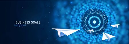 Business goal solution concept. Paper planes flies to the abstract target vector web banner. ESP 10 Stock Illustratie