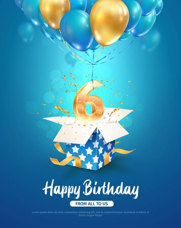 Celebrating of 6 th years birthday vector 3d illustration. Sixth anniversary celebration. Open gift box with explosions confetti and number six flying on balloons on light background.