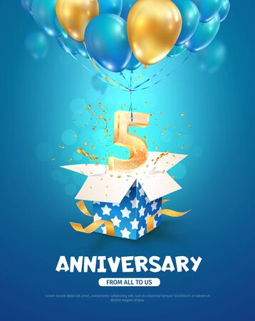 Celebrating of 5 th years birthday vector 3d illustration. Fifth anniversary celebration. Open gift box with explosions confetti and number five flying on balloons on light background. Vector Illustration