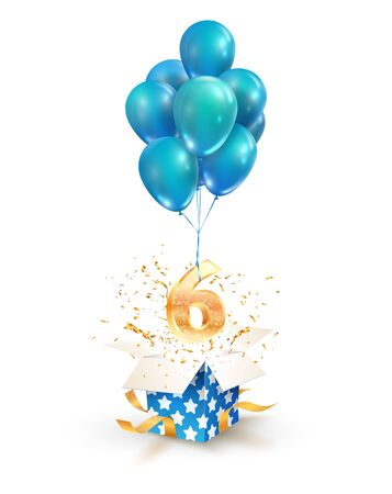 Open textured gift box with number 6 th flying on balloons. Six years celebrations. Greeting of sixth anniversary isolated vector design elements.