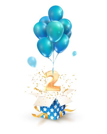 Open textured gift box with number 2 flying on balloons. Greeting for second anniversary isolated vector design elements. Two years celebrations  イラスト・ベクター素材