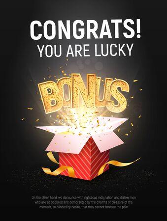 Bonus word flying from red gift box on dark background. Winning prize vector poster Vektorgrafik