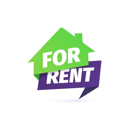 For rent house vector icon. Rental apartment sticker on white background
