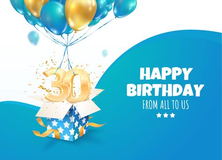 Celebrating of 30 th years birthday vector 3d illustration. Thirty anniversary celebration. Open gift box with explosions confetti and three and zero golden numbers flying on balloons