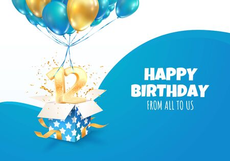 Celebrating of 12 th years birthday vector 3d illustration. Twelve anniversary celebration. Open gift box with one and two golden numbers flying on balloons.