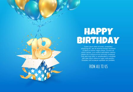 Celebrating of 18 th years birthday vector illustration. Eighteen anniversary celebration. Teenage birth day. Open gift box with numbers one and eight flying on balloons