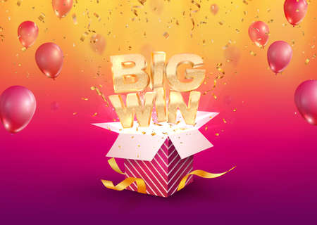 Big win vector illustration. Gambling advertising banner. Open textured gift box with confetti explosion out off. Giftbox on bright background.