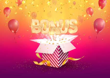 Bonus banner flying off the textured gift box on bright background. Winning prize vector illustration