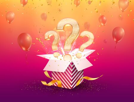 Winning gifts lottery vector illustration. Open textured box with question marks and confetti explosion off and on bright background