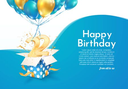 Celebrating 22 nd years birthday vector illustration. Twenty-two-anniversary celebration. Adult birth day. Open gift box with numbers flying on balloons invitation card Illustration