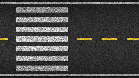 Crosswalk top view on asphalt vector illustration. Safety driving and movement