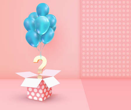 Winning gifts lottery vector illustration. Gift drawing. Open textured box with golden question mark on cream pink background.