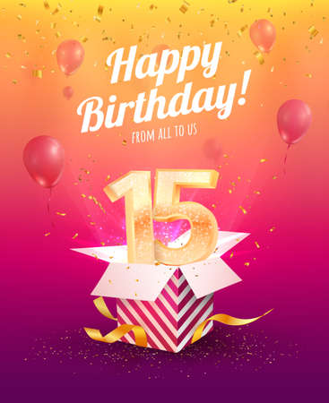 15 years anniversary vector banner template. Fifteen years jubilee with balloons and confetti on a bright background
