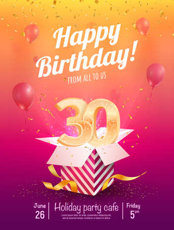 30 years anniversary vector banner template. Thirty years jubilee with balloons and confetti on a bright background Çizim