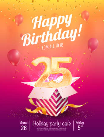 25 years anniversary vector banner template. Twenty-five years jubilee with balloons and confetti on a bright background