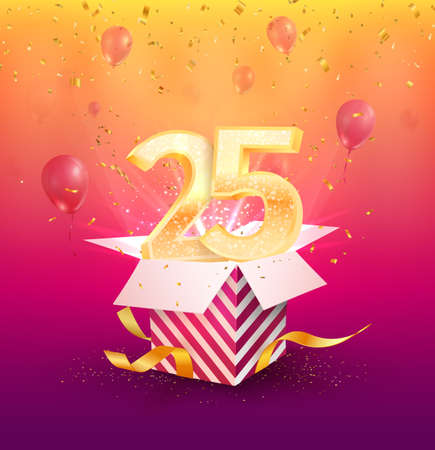 25 years anniversary vector banner template. Twenty-five years jubilee with balloons and confetti on a bright background. Design element. Vector illustration