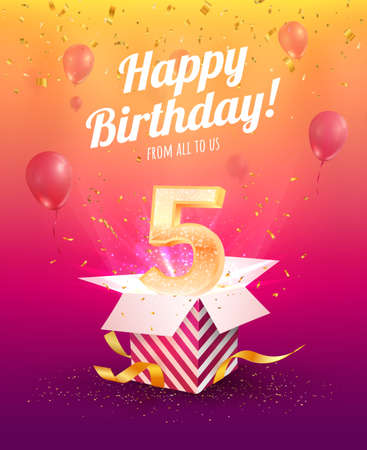 5 years anniversary vector banner template. Five years jubilee with balloons and confetti on a bright background. Ilustración de vector