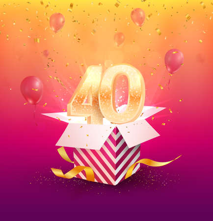 40 th years anniversary vector design element. Isolated Forty years jubilee with gift box, balloons and confetti on a bright background.
