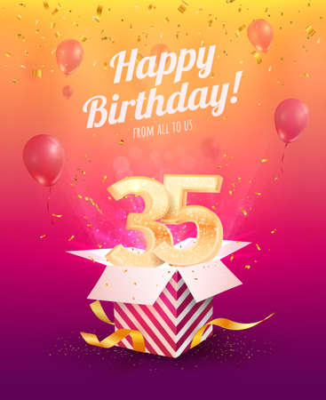 Celebrating 35 th years birthday vector illustration. Thirty five anniversary celebration invitation card. Adult birth day. Open gift box with numbers three and five flying Ilustración de vector