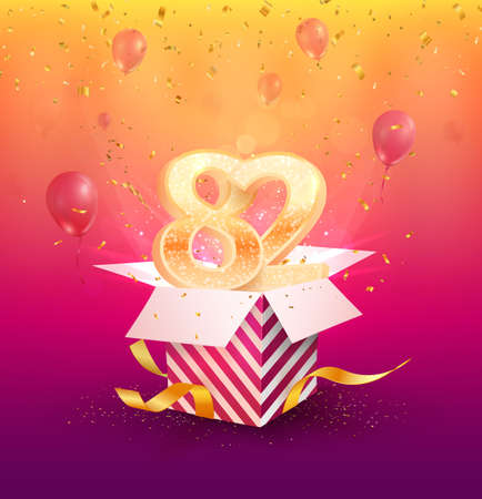 82nd years anniversary vector design element. Isolated Eighty-two years jubilee with gift box, balloons and confetti on a colorful background.