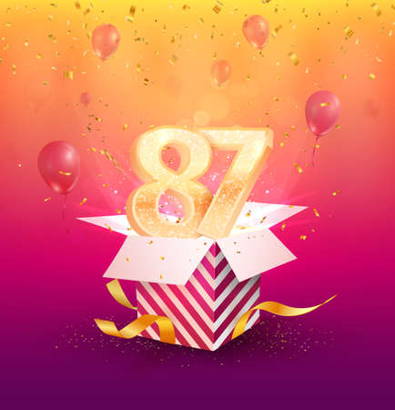 87th years anniversary vector design element. Isolated eighty-seven years jubilee with gift box, balloons and confetti on a colorful background. 矢量图像