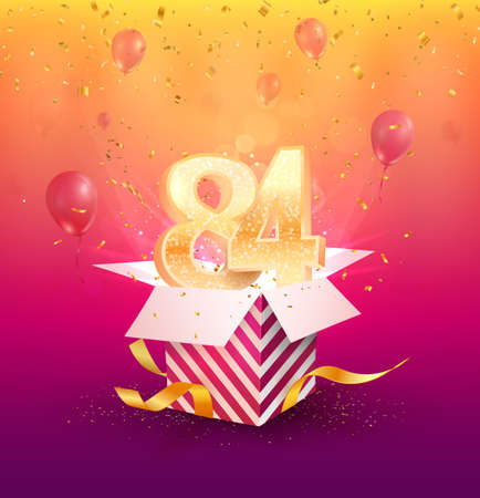 84th years anniversary vector design element. Isolated Eighty-four years jubilee with gift box, balloons and confetti on a colorful background. 矢量图像